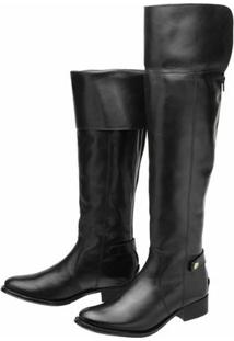 Bota Encinas Leather Montaria Over Knee - Feminino-Preto