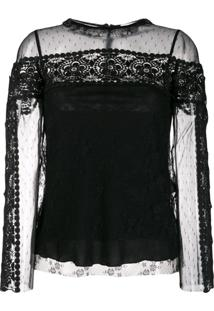 Red Valentino Blusa Point D'Esprit Com Tule - Preto