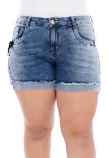 Short Jeans Plus Size Azul Com Ilhós E Amarração