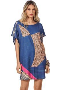 T-Shirt Morena Rosa Dress Basico Azul Marinho
