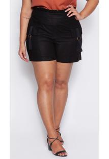 Shorts Almaria Plus Size Kayla Forli Linho Preto - Preto - Feminino - Viscose - Dafiti