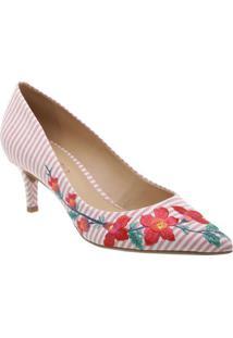 Scarpin Floral- Vermelho & Off Whitearezzo & Co.