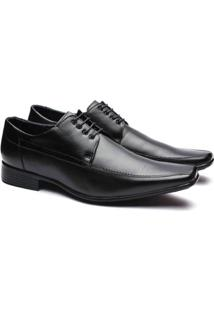 Sapato Social Couro Manutt Cadarço Masculino - Masculino-Preto