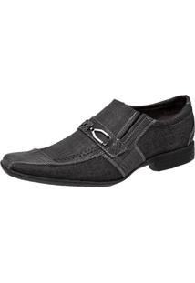 Sapato Social Pisa Forte Jeans Preto