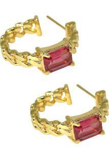 Brinco Infine Argola Elos Pequena Com Cristal Rubi Vermelho Banhada A Ouro