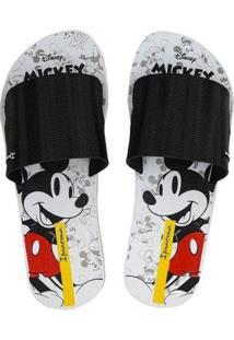 Chinelo Ipanema Disney Mickey Slide Feminino - Feminino-Preto+Branco