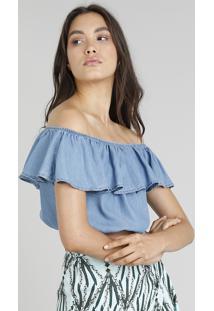 Blusa Jeans Feminina Cia. Marítima Cropped Ciganinha Azul Médio