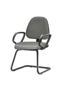 Cadeira Sky Com Bracos Fixos Assento Crepe Cinza Escuro Base Fixa Preta - 54831 Cinza