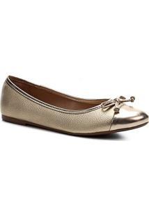 Sapatilha Shoestock Bico Redondo Laço Feminina - Feminino-Ouro