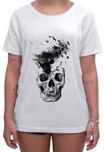 Camiseta Impermanence Estampada Caveira Feminina - Feminino-Branco
