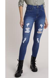 Calça Jeans Feminina Sawary Skinny Lipo Push Up Cintura Alta Destroyed Azul Escuro