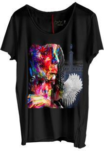 Camiseta Masculina Jay Jay Corte A Fio Mujer Aquarela Preto