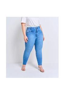 Calça Skinny Jeans Lisa Com Bolsos Curve & Plus Size   Ashua Curve E Plus Size   Azul   52