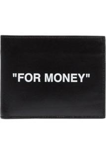Off-White Carteira De Couro Com Estampa For Money - Preto