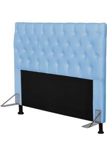 Cabeceira Cama Box Casal 160Cm Cristal Corino Azul Bebê - Js Móveis