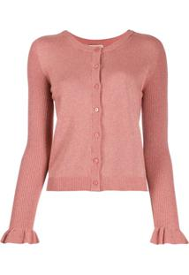 Twin-Set Metallic-Effect Knit Cardigan - Rosa