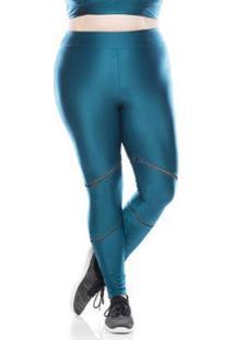Legging Fitness Plus Size Elástic Plus Feminino - Feminino-Verde Escuro
