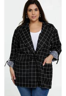 Jaqueta Feminina Parka Quadriculada Plus Size Marisa