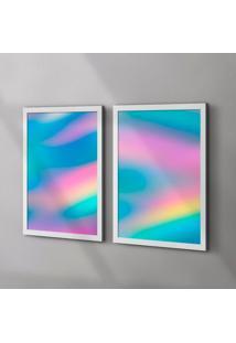 Conjunto Com 2 Quadros Decorativos Holográfico Branco