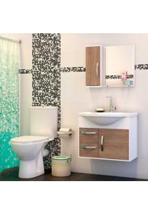 Gabinete De Banheiro Com Lavatório Apus 47X43X60Cm Branco Com Munique Cerocha
