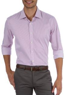 Camisa Social Masculina Upper Rosa Listrada
