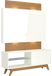 Rack Com Painel Munique 1,80 Mt Cor Off White Com Freijo - 51621 - Sun House