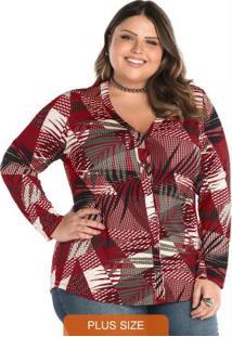 Camisa Estampada Feminina Rovitex Plus Vermelho