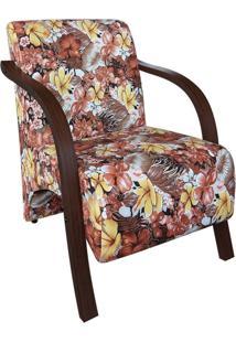 Poltrona Vênus - Estampas Florais 01 Lugar Braço Madeira -Floral