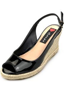 Sandália Anabela Love Shoes Espadrille Aberta Corda Verniz Preto