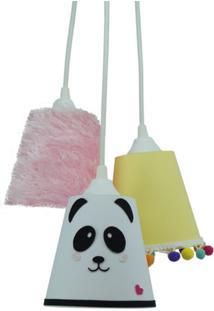 Lustre Crie Casa Pendente Panda E Frufrus - Branco - Dafiti