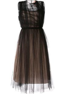 Nº21 Ruffled Tulle Dress - Preto