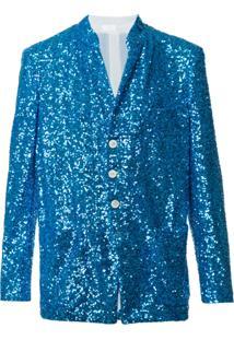 Comme Des Garçons Homme Plus Blazer Com Paetês - Azul