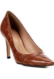 Scarpin Couro Shoestock Croco Salto Alto Bico Fino - Feminino-Caramelo