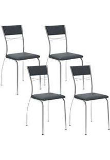 Cadeira 1701 Cromada 04 Unidades Jeans Carraro