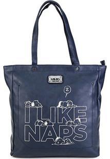 Bolsa Snoopy Shopper Bag Grande Feminina - Feminino-Azul