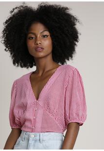Blusa Feminina Mindset Estampada Xadrez Vichy Manga Bufante Decote V Rosa