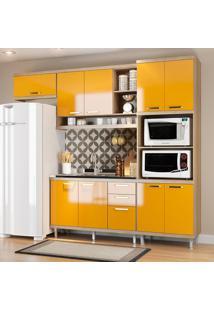 Cozinha Compacta Sem Tampo 9 Portas 5828 Argila/Amarelo - Multimóveis