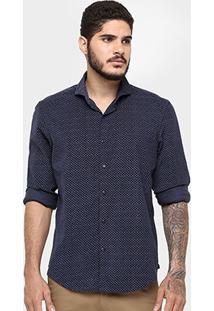 Camisa Richards Veludo Cotelê Mini Print - Masculino