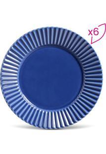 Jogo De Pratos Rasos Plissé- Azul Escuro- 6Pçs- Porto Brasil