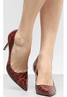 Scarpin Couro Shoestock Salto Alto Cobra - Feminino-Caramelo