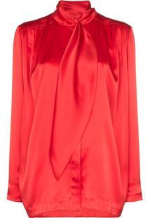 Matériel Blusa Com Amarração Na Gola - Vermelho