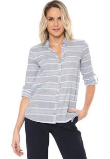 Camisa Marialícia Listrada Azul/Branca