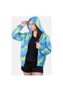 Jaqueta Corta Vento Chess Clothing Feminina Raios Azul