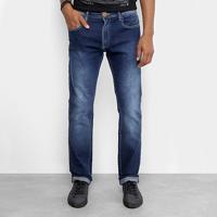 Calça Jeans Slim Cavalera Clássica Estonada Masculina - Masculino-Azul Claro a03faf32f95
