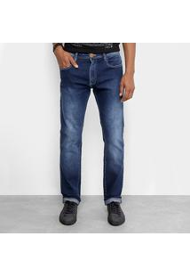 Calça Jeans Slim Cavalera Clássica Estonada Masculina - Masculino-Azul Claro