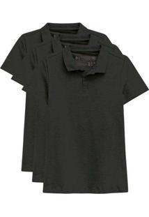 Kit De 3 Camisas Polo Femininas Preto