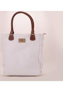 Bolsa Shopper Em Couro Texturizada- Branca & Marrom-Carmen Steffens