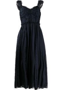 Ulla Johnson Vestido Florence Com Babado - Azul
