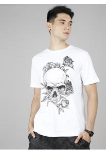 Camiseta Masculina Caveira Com Flores Manga Curta Gola Careca Off White