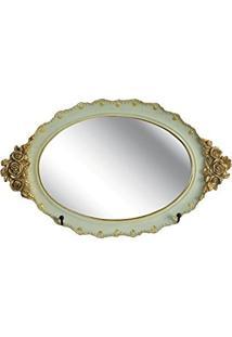 Bandeja Oval Espelhada Azul E Dourada